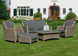 4 Seasons Outdoor Brighton Lounge Set in Pure - footstool extra