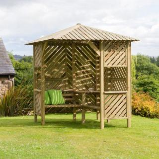 This attractive Brighton Corner Arbour is ideal for adding a great feature to your garden. Complete with fixed seating and table this Arbour is great for entertaining guests.