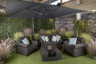 The Desser Byron Outdoor Three Piece Garden Suite in ideal for our typical British Summer Day.