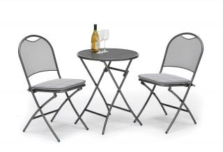 Kettler Caffe Roma Bistro Set with seat pads in Silver Check