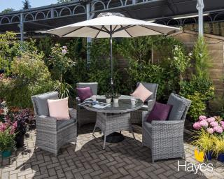 A stunning dining set for four which will enhance your garden or patio.