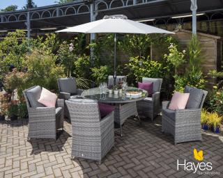 A contemporary dining set for six which will look great in your garden or patio.