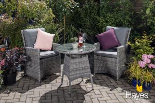 A comfortable set for two which will enhance your garden or patio.