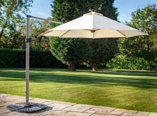 This versatile parasol can be raised, lowered or tilted to adjust the angle and comes in a choice of colours with integral LED lights in the canopy.