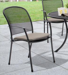 This steel mesh chair is durable and maintenance free & comes with a cushion in truffle or silver check.