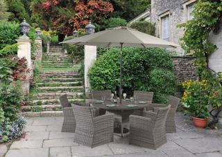 This resin weave dining set for six has a Resysta table top & comes in a choice of colours to suit your outdoor space.