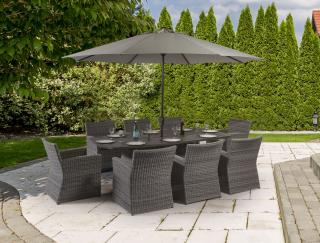 This resin weave dining set for eight has a Resysta table top in a curved rectangular shape & comes in a choice of colours to suit your outdoor space.