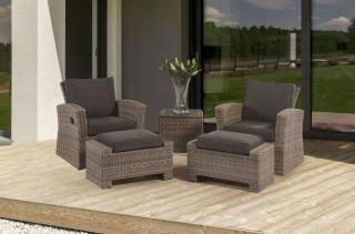 This resin weave set has two reclining chairs with footstools & side table in a choice of colours.