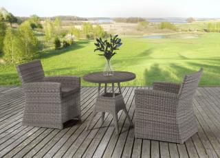 This mixed media bistro set combines resin weave with a Resysta table top & comes in a choice of colours.
