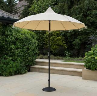 This stunning oriental look parasol has a beaded fringe & comes in two colours.