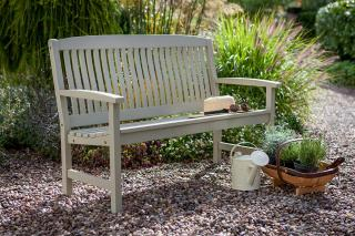 A hardwood 2 seater garden bench with a Kiwi painted finish.