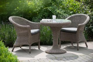 A curved Hularo Weave bistro set with all weather seat cushions.