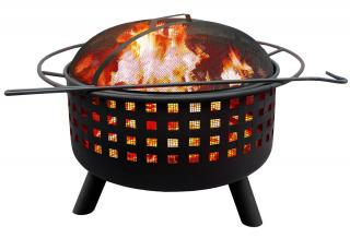 A contemporary firepit with all round warmth.