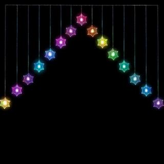 15 Indoor Colour Changing Multi-Colour LED Snowflake V Curtain