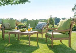 A comfortable, deep seated hardwood garden sofa set.