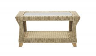 The Desser Clifton Coffee Table features delicate cane weaving with a natural glossy finish.