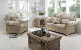 The Desser Clifton Conservatory Suite features delicate cane weaving with a natural glossy finish.