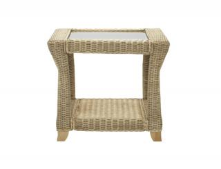 The Desser Clifton Lamp Table features delicate cane weaving with a natural glossy finish.