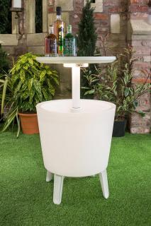 A durable, weather-resistant resin cooler, cocktail table and coffee table in one stylish design.