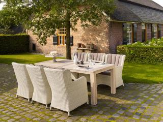 This LIFE Outdoor Living Count dining set for six combines resin weave in White Beach with a 2.4m teak table in Grey.