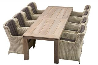 This LIFE Outdoor Living Count set combines resin weave in White Beach with a sturdy teak table in Grey.