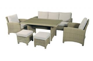 The stylish Cotswold Three Seater Sofa Dining Set is ideal for the garden or patio.