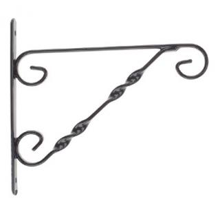 Attractive, strong wall or post mounted hanging basket bracket.
