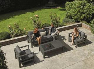 This contemporary set is made from powder coated aluminium with all weather cushions & a gas firepit table.