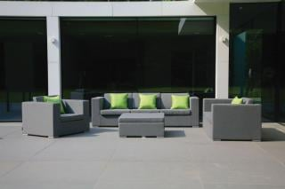 An all weather lounge set with quick dry foam in a choice of colours.