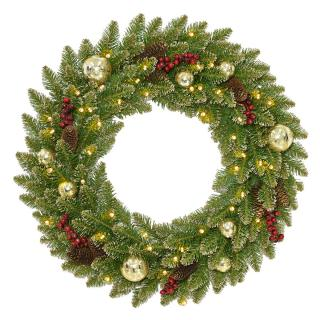 This battery operated artificial Christmas wreath is stunning with its baubles, berries, cones & golden tips.