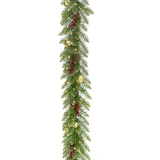 This artificial Christmas garland with battery operated lights is stunning with its baubles, berries, cones & golden sparkly tips.