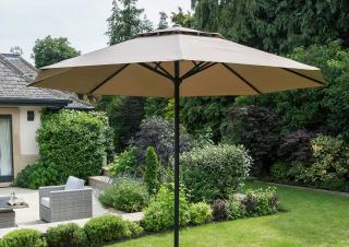 This aluminium parasol comes in two colours & has a simple opening action.