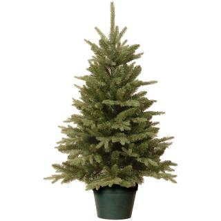 This Feel-Real PE/PVC mix artificial Christmas tree is potted & ready to decorate.
