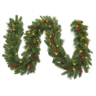This artificial Christmas garland is decorated with berries & cones & its battery operated LED's are controlled by a timer.