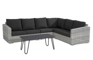 This modular sofa set comes in a multi-tone grey Hularo Weave with thick all weather cushions in Anthracite Grey.