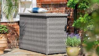 A useful resin weave cushion box with an air pump lid to match the Foxton sets.