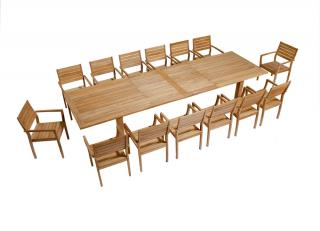 Barlow Tyrie Code 2APX39. The fabulous Apex 390cm Extending Teak Dining Table would complement most large gardens. Most dining chairs will complement this table due to it's elegant and simple lines.