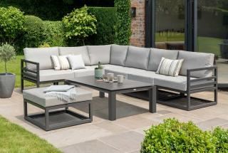 This contemporary set is made from aluminium with a Lava finish & all weather cushions in Khaki.