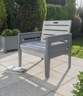 This grey painted eucalyptus hardwood chair comes with a seat pad & can be used on its own or combined with a table to make a garden set.
