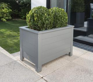A grey painted eucalyptus planter to brighten up your garden.