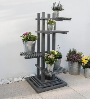 A grey painted eucalyptus plant stand which can be used inside or out.