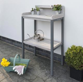 This grey painted eucalyptus potting table is both attractive & practical.