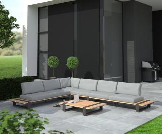 This modular aluminium & natural teak set has in-built teak tables at each end & comes with light grey all weather cushions.