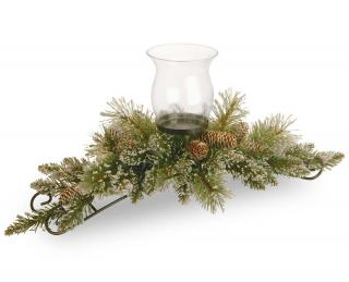 This glittering artificial Christmas centrepiece will hold a pillar candle & is decorated with cones.