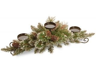 This glittering artificial Christmas centrepiece will hold 3 pillar candles & it is decorated with snowy cones.