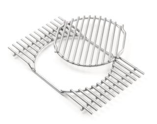 A stainless steel cooking grate with removable central section for the Summit gas grills.