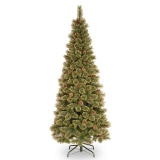 This 5.5ft slim tree has golden tipped bushy branches & large cones.
