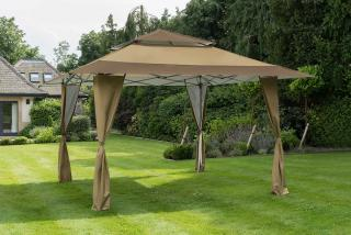 This 4m square gazebo has a steel frame with a heavy duty, water resistant canopy & is available in two colours.