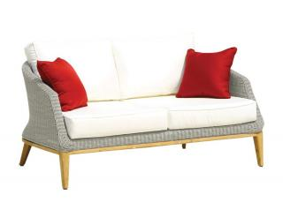 Westminster Code GRA204. A woven settee for two in platinum grey with teak legs & cushions.