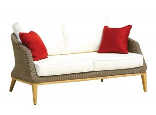 Westminster Code GRA203. A woven garden settee in sand with teak legs & cushions.